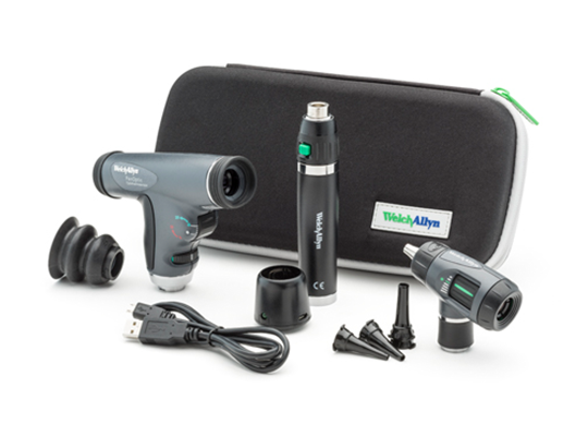 Welch Allyn 3.5 V Diagnostic Set with PanOptic Ophthalmoscope, MacroView Otoscope and Lithium Ion Rechargeable Power Handle in Hard Case